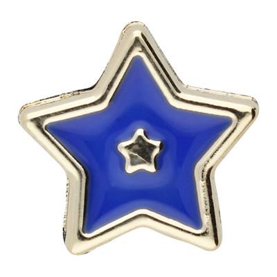 Großlochperle, Stern, innen 5mm, 18x8mm, roségoldfarben-blau, Acryl