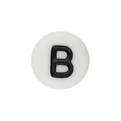 Acrylbuchstabe B (10 Stück), innen 1mm, 7x4mm, schwarz-weiß