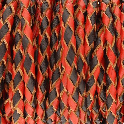 Lederband rund geflochten, 100cm, 3mm, SCHWARZ-ROT