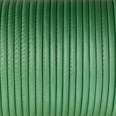 Nappaleder rund gesäumt, 100cm, 4mm, METALLIC PASTELLMINZE
