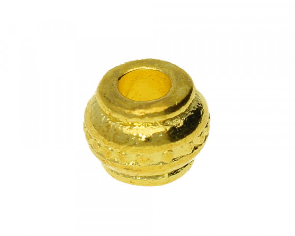 Großlochperle, innen 3,5mm, 9x7mm, goldfarben, Metall