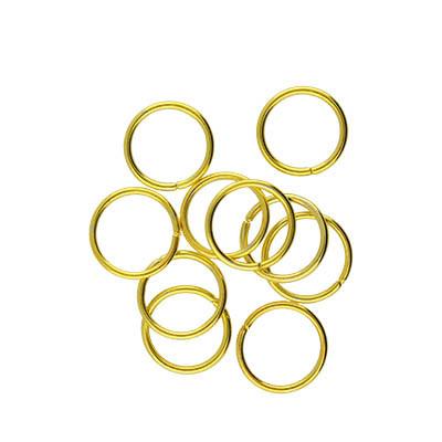 Bindering, rund, 10 Stück, 4 bis 10mm, Metall, goldfarben
