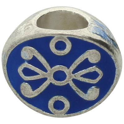 Großlochperle, innen 4,5mm, 11x8x6,5mm, blau, Metall und Emaille