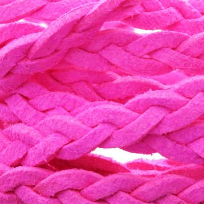 Flachriemen, Veloursleder, geflochten, 6x2mm, Neon Pink