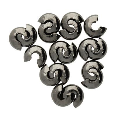 Quetschperle (10 Stk.), ca. 5 mm breit, Loch Ø 1.5~1.8 mm , schwarz, Metall