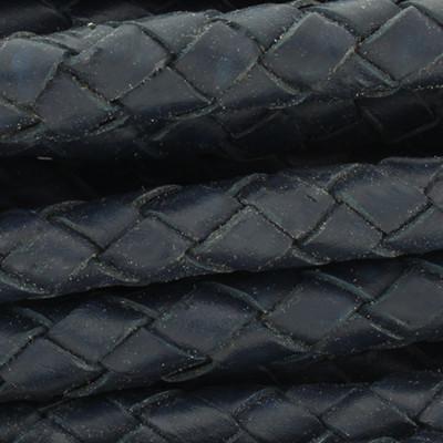 Lederband rund geflochten, 100cm, 8mm, MOROCCAN BLUE