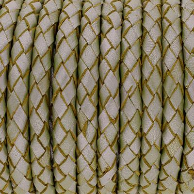 Lederband rund geflochten, 100cm, 6mm, LIGHT GREEN Metallic