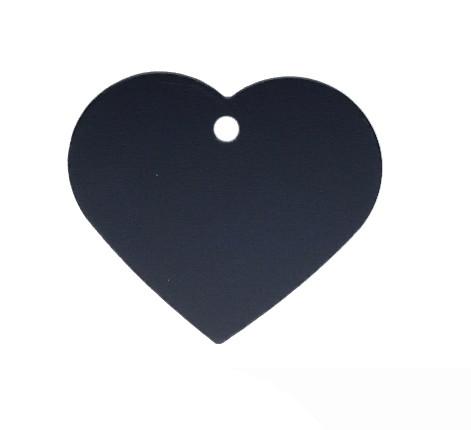 Anhänger, Herz, 32x35mm, schwarz, eloxiertes Aluminium