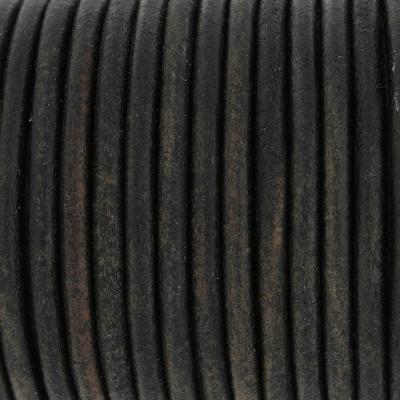 Rundriemen, Lederschnur, 100cm, 4mm, DUNKELGRAU VINTAGE