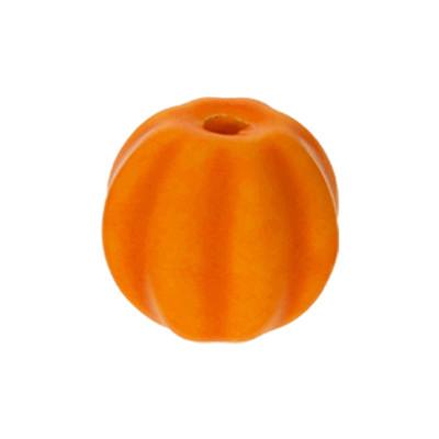 Perle, innen 2mm, 13x12mm rund, orange, Porzellan