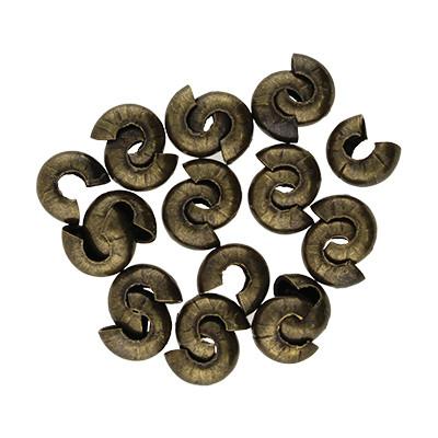 Quetschperle (10 Stk.), ca. 5 mm breit, Loch Ø 1.5~1.8 mm, bronzefarben, Metall