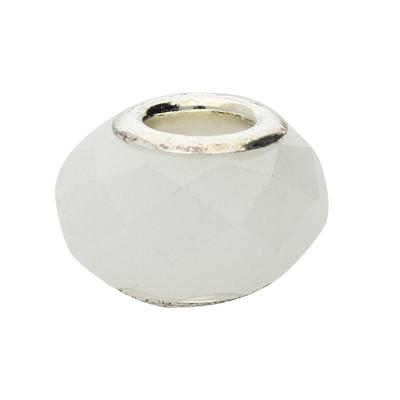 Großlochperle, innen 4,5mm, 14x9mm, weiss, Glas