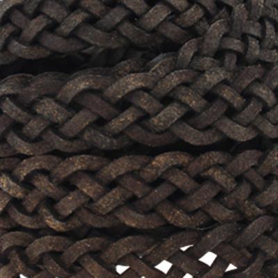 Flachriemen Rindsleder geflochten, 200cm (vorgeschnitten), 10x2mm, DUNKELBRAUN