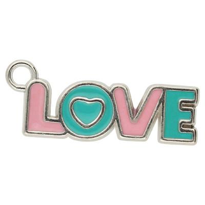 Anhänger, Love, 32x11x2mm, pinkblau- & silber, Metall
