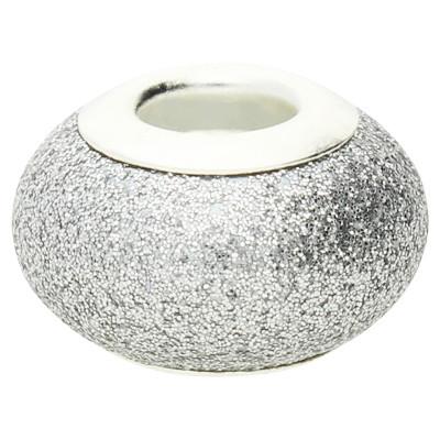 Großlochperle in Sternenstauboptik, innen 4,5mm, 14x9mm, silberfarben, Metall