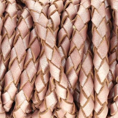 Lederband rund geflochten, 100cm, 4mm, METALLIC ROSÈ TAUPE