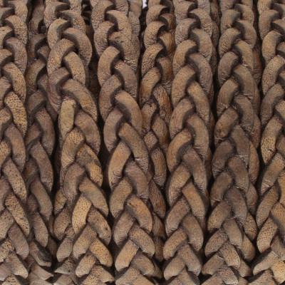 Flachriemen Rindsleder, 100cm, 5x2,7mm, BLAU-GRAU