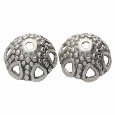 Perlenkappe (2 Stück), innen 1,5mm, 17x7mm, antik-silberfarben, Metall