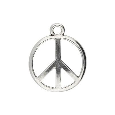Anhänger, Peace, Ø 24mm, antik-silberfarben, Metall