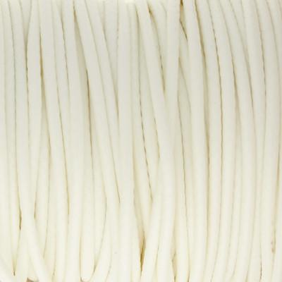 Gewachstes Schmuckband aus Baumwolle, 100cm, 2mm breit, WEISS
