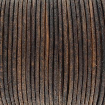Rundriemen, Lederschnur, 100cm, 2mm, VINTAGE TEAKHOLZFARBEN dunkel