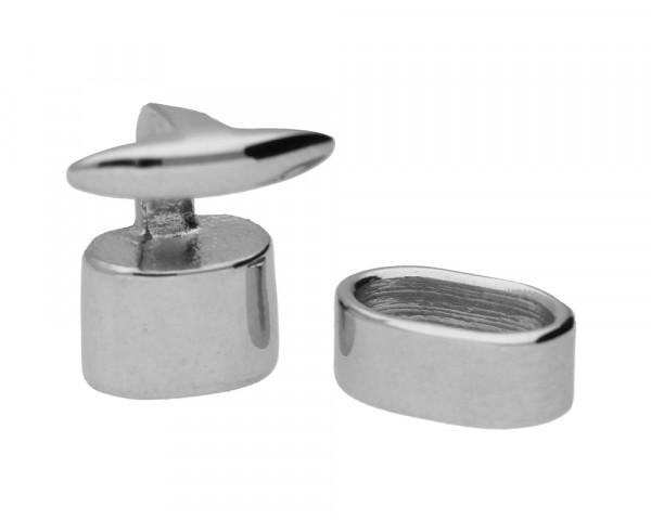 Armbandverschluss, innen 8x4mm, Edelstahl, silberfarben. T-Stück: 15x14x10mm, Ring 5x10x6mm