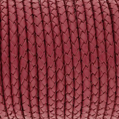 Lederband rund geflochten, 100cm, 3mm, HIMBEERE
