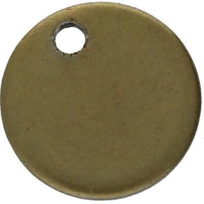 Anhänger / Plättchen, rund, Ø 10x1mm, Ösen-Ø 1mm, bronzefarben, Edelstahl