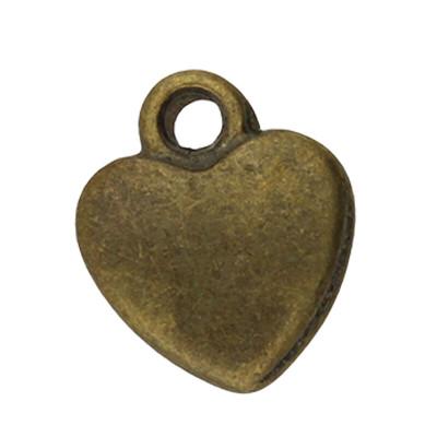 Anhänger, Herz, 12x10x2,5mm, bronzefarben, Metall