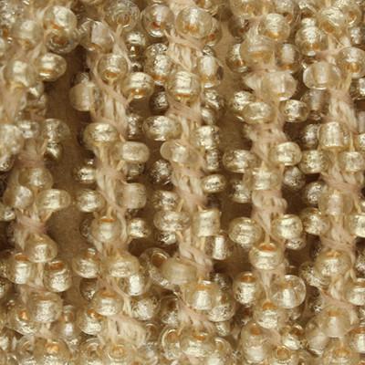 Handgeknoteter Perlenstrang, 6mm, beige, Länge 50cm