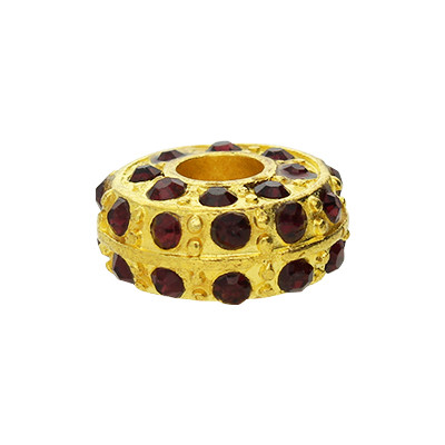 Großlochperle mit Straßsteinen, innen 5mm, 14x7mm, violett- & goldfarben, Metall