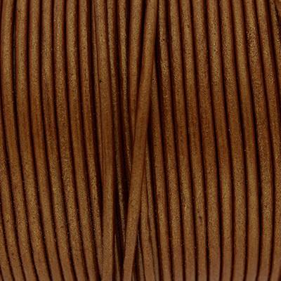 Rundriemen, Lederschnur, 100cm, 2mm, CARAMEL METALLIC