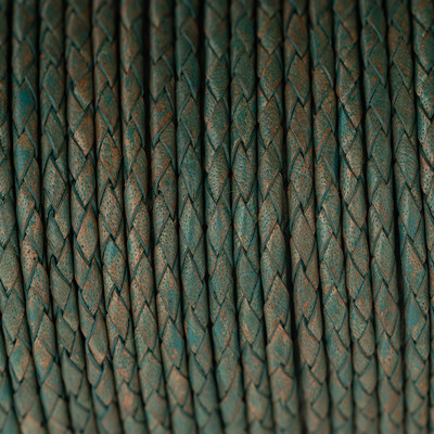 Lederband rund geflochten, 100cm, 3mm, PATINA multicolor
