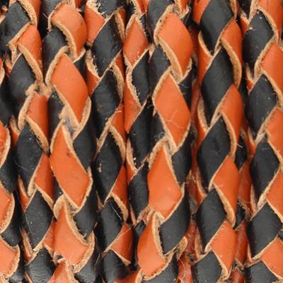 Lederband rund geflochten, 100cm, 3mm, ORANGE-SCHWARZ