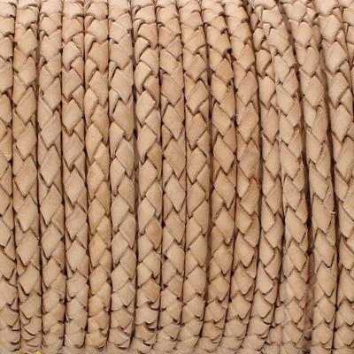 Lederband rund geflochten, 100cm, 3mm, NATUR