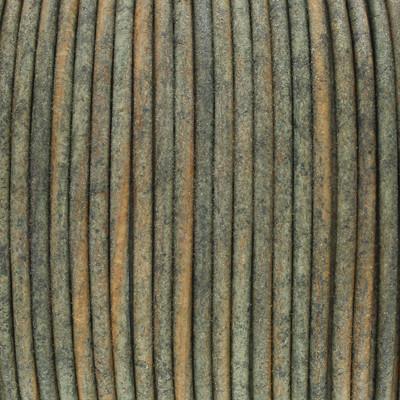 Rundriemen, Lederschnur, 100cm, 2mm, MOOSGRÜN VINTAGE