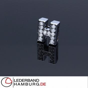 Slidercharm, Buchstabe H, 12x13x4, innen 8x2mm, silberfarben, Metall
