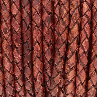 Lederband rund geflochten, 100cm, 3mm, WEINROT meliert