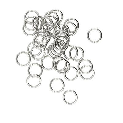 Bindering, rund, 10 Stück, 6mm, innen 4,5mm, Edelstahl, platinfarben