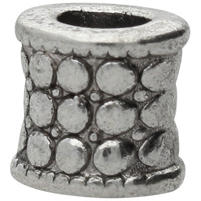 Großlochperle (2 Stück), innen 5mm, 8x9mm, antik-silberfarben, Metall