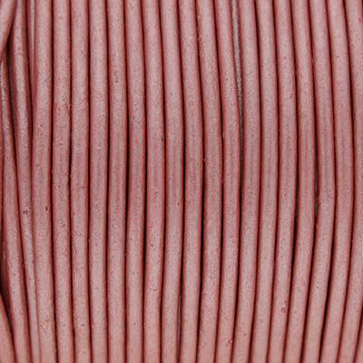 Rundriemen, Lederschnur, 100cm, 2mm, METALLIC WILD ROSE