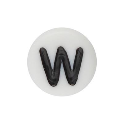 Acrylbuchstabe W (10 Stück), innen 1mm, 7x4mm, schwarz-weiß