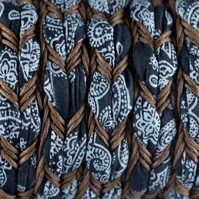 Ethnoband mit gewachster Baumwolle, 100cm, ~16x5mm Flachriemen geflochten, SCHWARZ-BRAUN