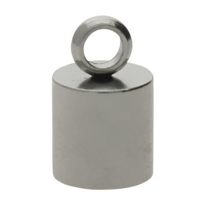 Endkappe mit Öse, 10,5x6,5mm, Loch-Ø 5,5mm, Edelstahl