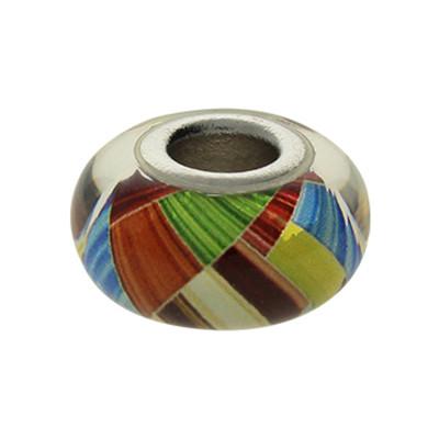 Großlochperle, innen 5mm, 14x8mm, multicolor, Murano Glas