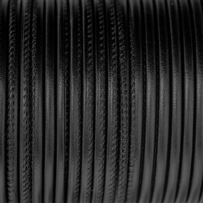 Premium Nappaleder rund gesäumt, 100cm, 6mm, SCHWARZ