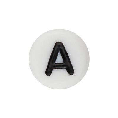 Acrylbuchstabe A (10 Stück), innen 1mm, 7x4mm, schwarz-weiß