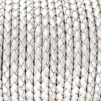 Lederband rund geflochten, 100cm, 3mm, METALLIC PERLMUTT