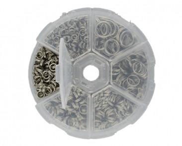 Box mit verschiedenen Spaltringen, Ø 4mm, 5mm, 6mm, 7mm, 8mm & 10mm, Metall, platinfarben