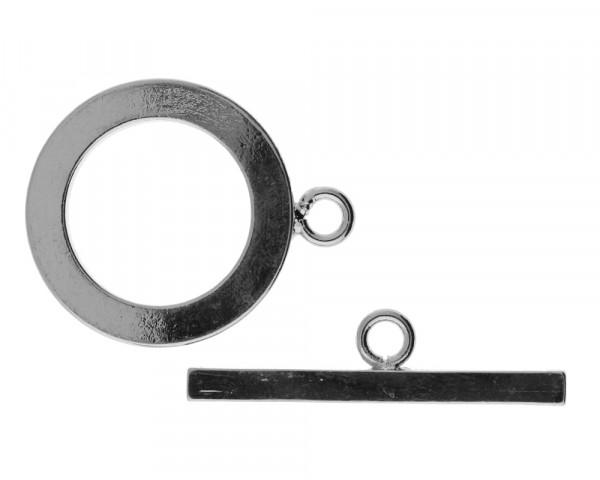 Knebelverschluss (Ring 25x31x3mm, T-Stück 34x4x3mm), silberfarben, Metall